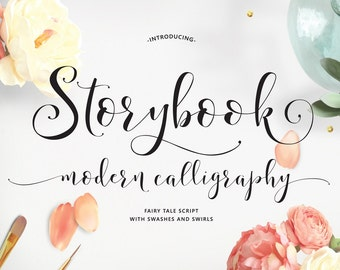 Storybook Hand-Lettered Calligraphy Script Font -Commercial Download