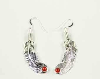 Native American Indian Jewelry Handmade Sterling Silver Coral Feather Dangle Earrings