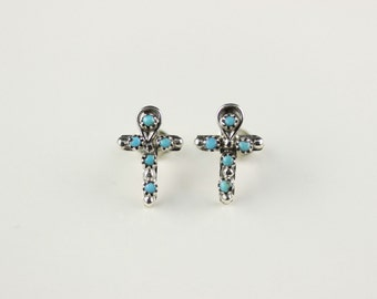 Zuni .925 Sterling Silver Turquoise Cross Post Earrings By Georgette Booqua