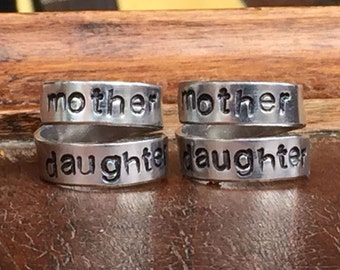 "Mother Daughter Friendship Rings Set 1/4"" Wide Double Wrap Smooth, Organic Texture Artisan Handmade Custom Jewelry Sizes 3-14"
