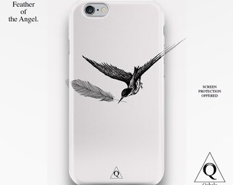 iPhone 6 Case, iPhone 6s Case, iPhone 6 Plus Case, iPhone 5 Case, iPhone 5s Case, iPhone 5c Case, Vintage Monochrome Engraving Bird Feather