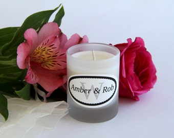 Rhode Island Wedding Candles 3 oz. Scented Soy Wax Frosted Glass Personalized Organza Bags Orla Soy Candle