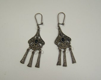 antique silver earrings with black stone