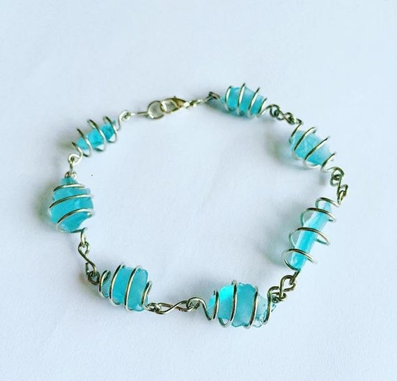 Items Similar To Spiral Cage Sea Glass Bracelet