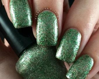 Exalted Emerald/ Glitter Crelly Nail Polish