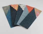Set of 5 bookmarks made of recycled jeans and decorated papers #2 - Page markers in jeans and papers - original bookmarks