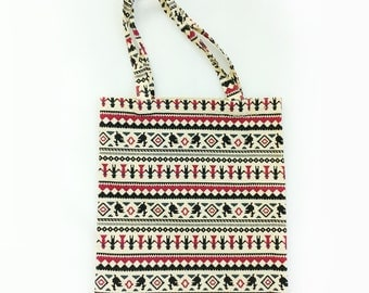 Ethnic Patterned Eco Bag, Canvas Bag,  School Bag, Market bag, Daily bag, Tribal Patterned Bag,Light Tote Bag, Eco Bag