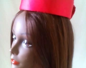 Red Sateen Pillbox Hat with Bow