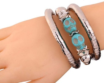 light blue skull bangle  bracelet
