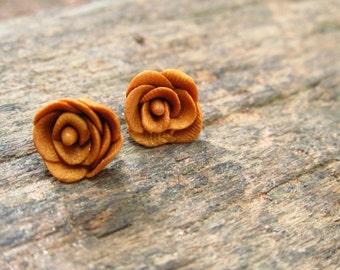 Gold Rose Stud Earrings
