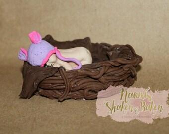 1x Cute Baby Fondant Edible Cake Cupcake Topper 2-4 inch base