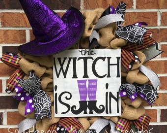 """18"""" Natural Burlap """"The witch is in"""" Halloween Wreath with Witch hat"""