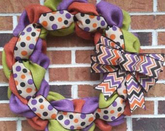 "18"" Orange Green & Purple Burlap Halloween Wreath"