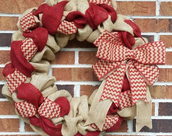 """18"""" Natural & Red Burlap Christmas Wreath"""