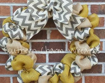 Yellow, Gray Chevron & Natural Burlap Wreath