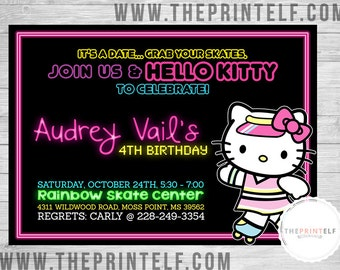 Neon Skater Kitty Invitation