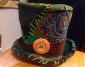 Mad Hatter hat, burning man hat, burning man accessories, patchwork hat, costume hat, fantasy, magic hat, handmade top hat
