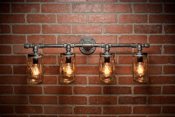 Rustic Industrial Modern Mason Jar Lights Vanity Light: Mason Jar Light Pipe Light Vanity Light Edison Light By TMGDZN