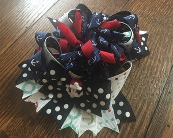 Nautical Over The Top Hair Bow