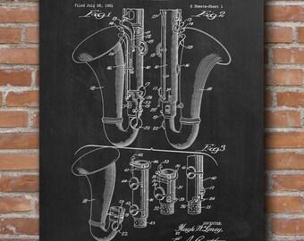 Bass Clarinet Patent, Clarinet Patent, Music Art Print, Music Wall Art, Bar Decor, Patent Print - DA0651