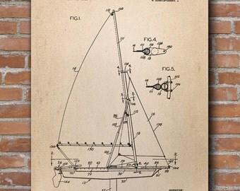 Sailing Catamaran Patent, Catamaran Print, Nautical Poster, Marine Sailing Print, Sailboat Wall Art, Sailboat Wall Decor - DA0673