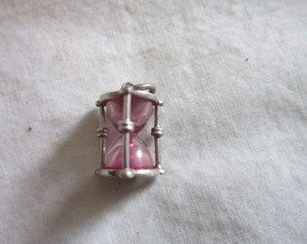 Vintage Sterling Silver Pink Sand Hour Glass Charm or Pendant  - Real Sand!