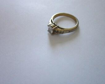 Vintage Solitaire Faux Diamond Engagement Ring