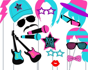 Print Yourself Rock Star Photo Booth Party Props