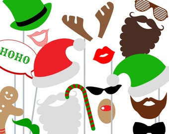 Print Yourself Christmas Party Photo Booth Party Props - Christmas Photobooth Printables