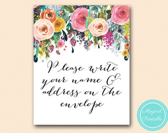 please write your name and address on envelope sign, Bridal, Baby, Wedding Signage, Wedding Sign Printable, Bridal Shower BS138 SN34 TLC140