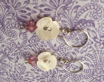 Dainty Carved Mother of Pearl Button Earrings