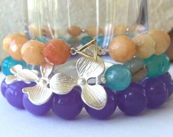 Purple Gemstone Stacking Bracelet, Beaded Boho Lavender Quartz Stretch Bracelet, Yoga Bracelet, Gemstone Bracelet, Stackable Bracelet,