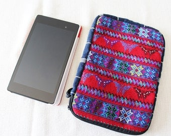 Blue and Red Huipil Tablet Pouches/Multicolor Cotton Table Case/Reader Pouches/ Guatemalan Tablet Pouches/ Huipil Readers Cases/IPad sleeves
