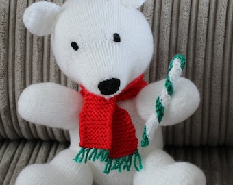 Snow bear, teddy, knitted, knit, Christmas, decoration, Xmas, festive, present,