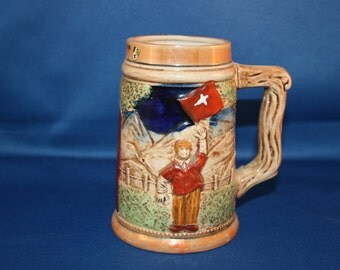 Vintage Hand Painted Porcelain Souvenir Tankard from San Bernardino Switzerland Beer Stein