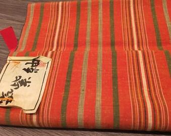 NOS Japanese Vintage Kimono Fabric Orange Cotton 100%