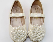 Ivory Flower Girl Shoes/ ivory pearl Toddler Girl Shoes/Pearl satin bow Party Shoes/mary jane shoes-Genuine Leather Shoes For Girls