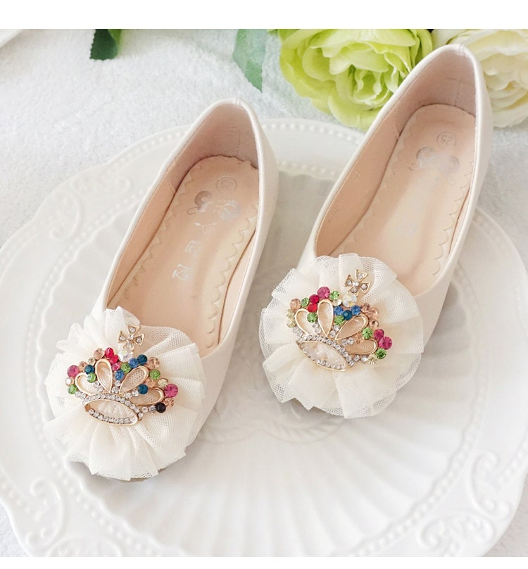 Ivory Flower Girl Shoes/ Toddler Girl Shoes/White Lace Crown