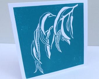 Lino print card - Gum leaf design