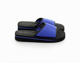 Vintage 90s Club-Kid SPORTY Cyber Rave PLATFORM Minimalist Slip-Ons Sandals Shoes 8 *Free Shipping U.S.* vtg