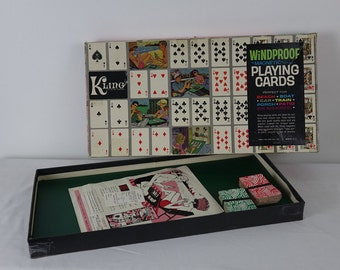 Vintage Magnetic Playing Cards Game - Kling Playing Cards - Made in USA - Magnetic Game - Windproof