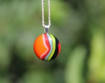 Teeny weeny rainbow swirl  glass pendant, swirl glass necklace