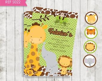 Animal Jungle Safari (invitation animal Safari)-Free Tags