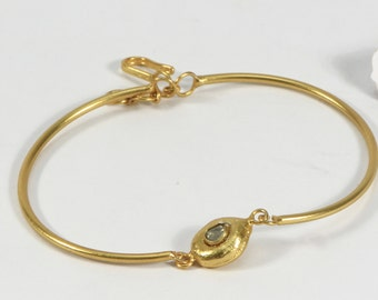 Organic Women Bangle Bracelet  .925 Sterling Silver in 18ktGold Micron Plating 2.5 inches with 9mm Uncut Diamond bead