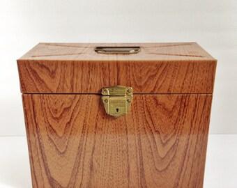 Vintage Metal file box with key / faux wood grain