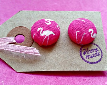 Flamingo Earrings| Fabric Covered Jewellery| Statement Jewelry| Unique Ear Studs| Pink Earstuds