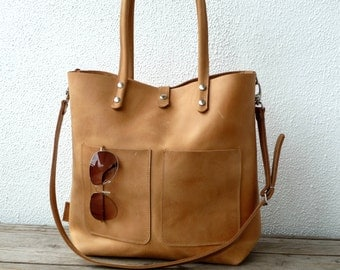 Enie Frontpocket camel! Leather tote, tote bag, women leather tote camel, large leather shopping bag, Enie Frontpocket camel!