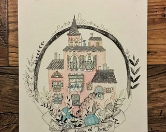 Once Upon A Time Castle - Original Watercolor Illustration || Print