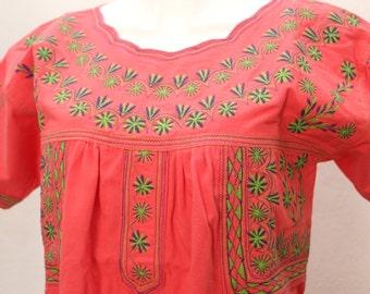 TLAHUI one size coral blouse