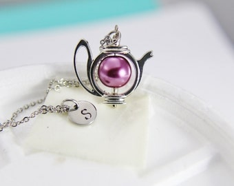Purple Pearl Teapot Necklace Silver Teapot Necklace with Personalized Initial Necklace Monogram Custom Jewelry Bridesmaid Gift